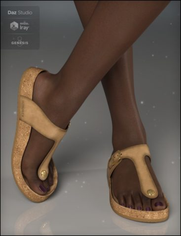 Summer Style Sandals for Genesis 8 Female(s)
