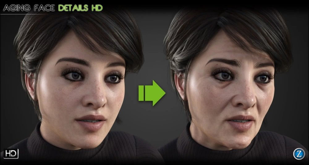 Aging Face Details HD for Genesis 3 and 8 Female(s) ⋆ 3d