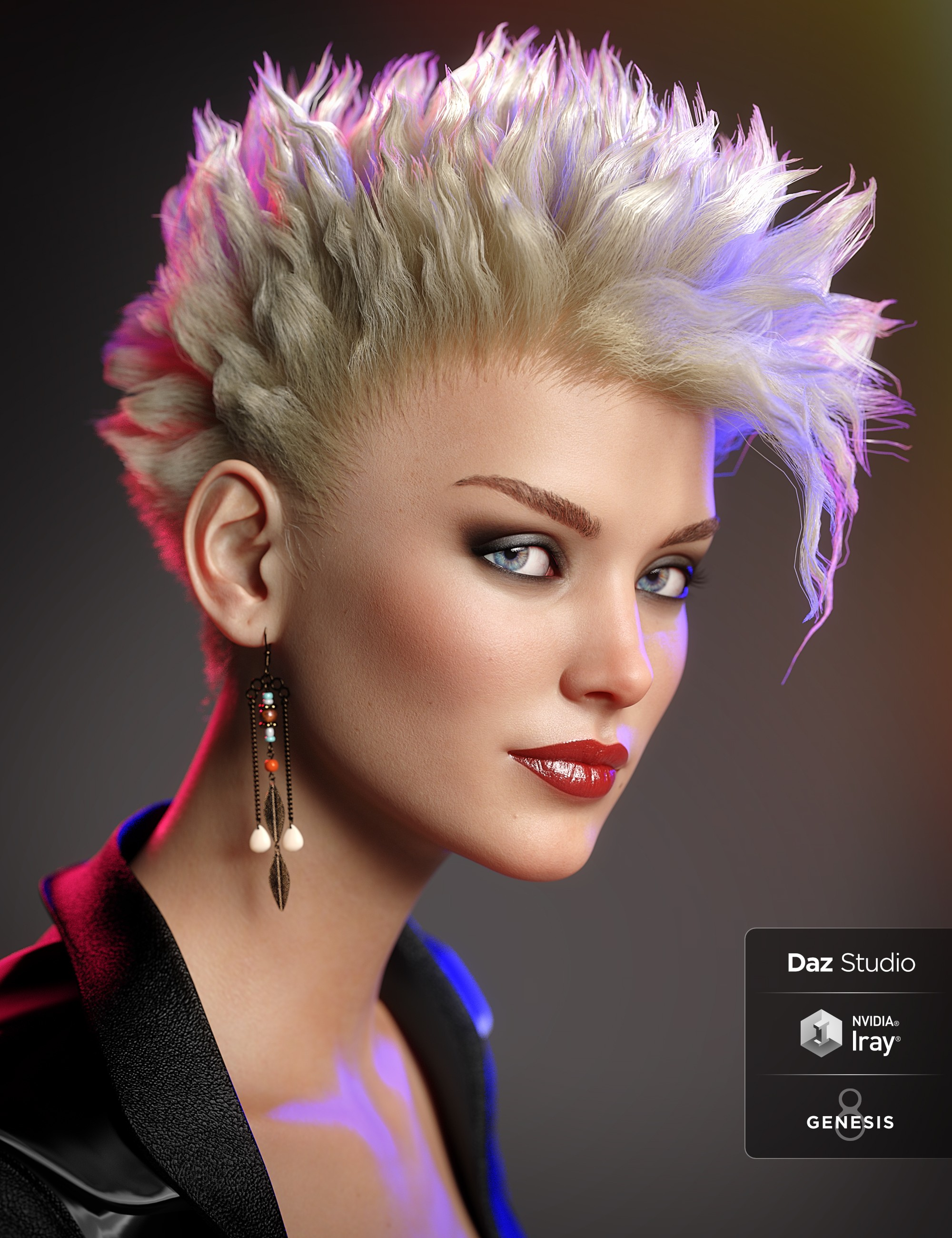 dForce C1 Spiky Hair for Genesis 3 and 8