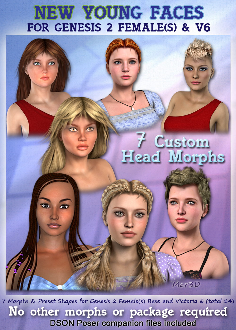 New Young Faces for G2F & V6 Custom Head Morphs