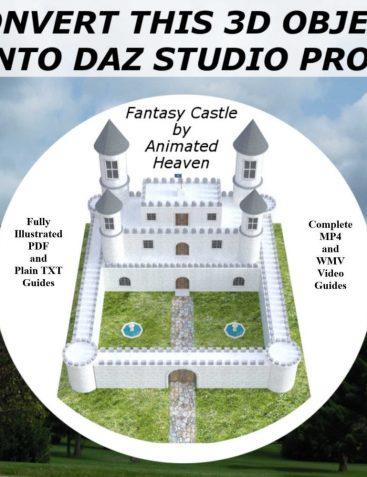 3D MODEL CONVERSIONS, Fantasy Castle OBJ to Daz Studio PROP