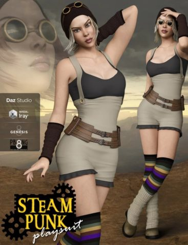 Steampunk Playsuit Outfit Set for Genesis 8 Female(s)