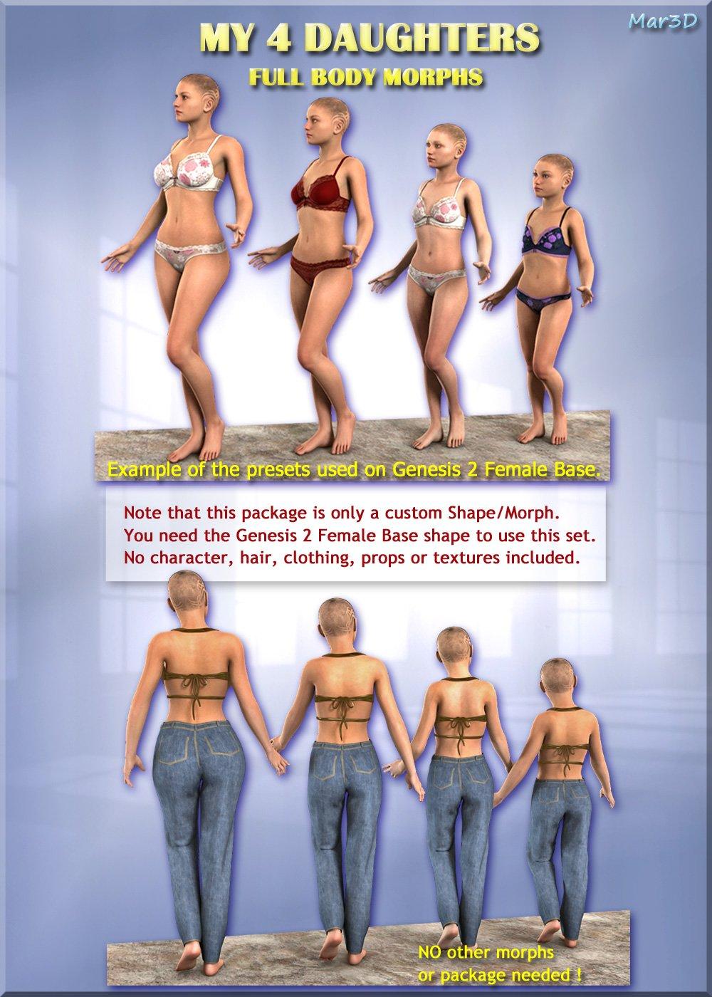 MY 4 DAUGHTERS - Full Body Morphs for G2F/ V6