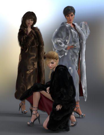 dForce Fur Coat for Genesis 8 Female