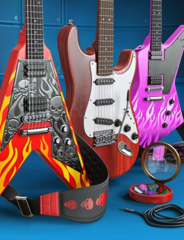 Electric Guitar Collection for Genesis 8 and Genesis 3 Male and Female