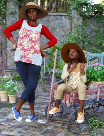 dForce Gardening Set Outfit Textures