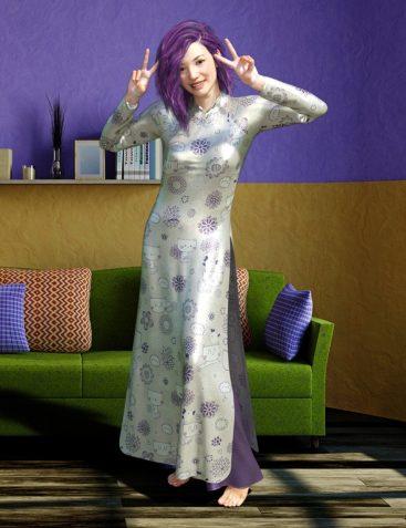 dForce AO Dai Eastern Silk Add On Textures